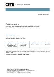 Rapport de mission - Évaluation de la réglementation sécurité incendie en habitation