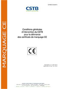Conditions générales d'intervention du CSTB pour la délivrance des certificats de marquage CE