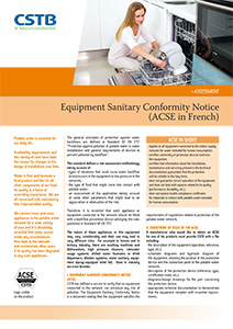 Equipment Sanitory Confirmity Notice (ACSE)