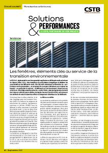 Solutions & Performances - N° 5 : Menuiseries extérieures