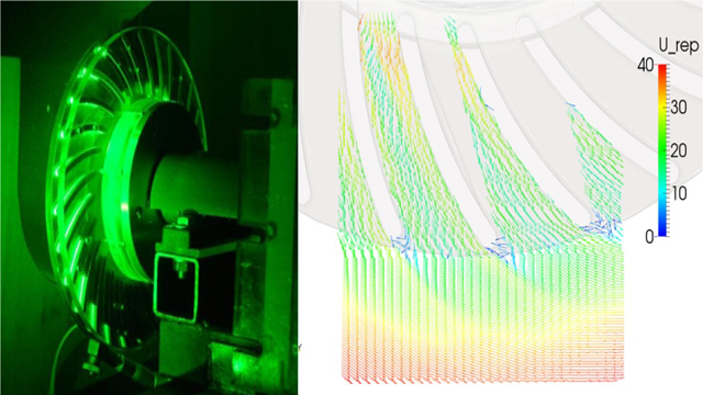 Using PIV to measure airflow in blades of rotating disc brakes
